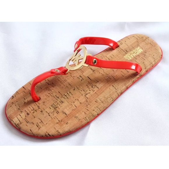 c57408ec4055 Michael kors flat sandals thong jelly cork red new